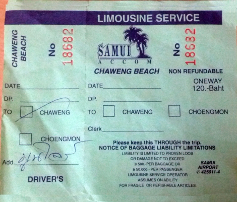 Limosine Ticket to Chaweng
