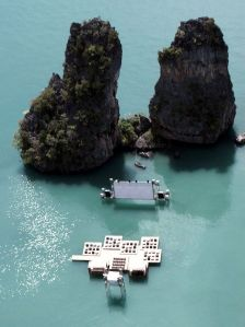 A floating Cinema in Thailand