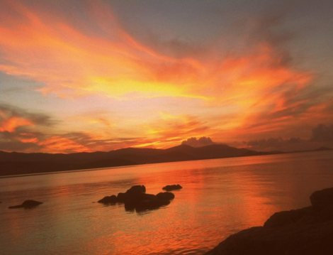 Stunning sunset over Plai Laem  in Koh samui  -Thailand.