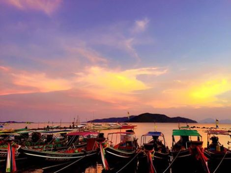 Gorgeous sunset over Koh samui - Thailand.