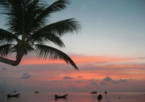 Stunning sunset over bangrak beach in Koh samui - Thailand.